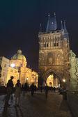Charles bridge at night, Prague — Stock Photo