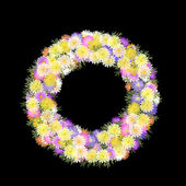 Daisies and petal multicolored folkart wreath — Stock Photo