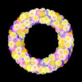 Multicolored Daisy Wreath on black — Stock Photo