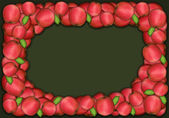 Autumn and thanksgiving apple frame on green background — Stock Photo