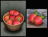 Atumn thanksgiving apples on wooden surface — Stock Photo