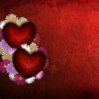 Stock Photo: Grunge Valentine heart with flowers