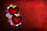 Grunge Valentine heart with flowers — Stock Photo