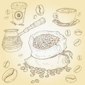 Hand drawn vector set of coffee elements — Stock Vector
