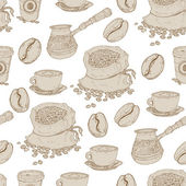 Hand drawn seamless coffee pattern — Stock Vector