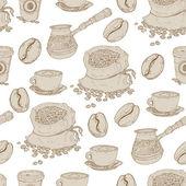 Hand drawn seamless coffee pattern — Stock Vector