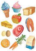 Cartoon food icons — Stock Vector