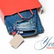 pantalones vaqueros en la bolsa — Foto de Stock