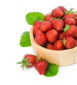 Strawberry berry with green leaf — Stock Photo