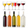Set of white, rose, and red wine bottles and glass — Stock Photo