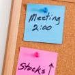 Mics Notes on Corkboard — Stock Photo