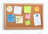 Mics Notes on Corkboard — Stock Photo