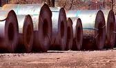 自動車用鉄鋼コイル倉庫 — ストック写真