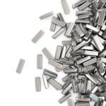 zilveren staven op witte achtergrond met plaats voor uw tekst — Stockfoto