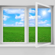 Opened Window with Beautiful Landscape Behind — Stock Photo