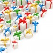 Heap of Colorful Gift Boxes isolated on white background with place for your text — Stock Photo
