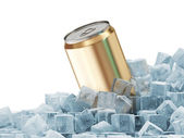 Can of Beer in Ice Cubes isolated on white background — Stock Photo