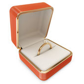 Golden Wedding Ring with Diamond in a Box isolated on white background — Stock Photo