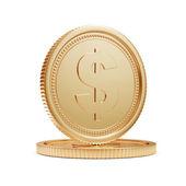 Zlaté mince izolovaných na bílém pozadí — Stock fotografie