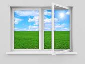 Otevřené okno s krásnou krajinu za — Stock fotografie