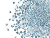 Grupo de cubos de gelo, isolado no fundo branco, com lugar para o seu texto — Fotografia Stock