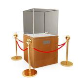 Empty Presentation Showcase and Golden Velvet Rope isolated on white background — Stock Photo