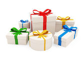 Colorful Gift Boxes isolated on white background — Stock Photo