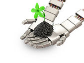 Fresh Green Plant in Metal Hands of Robot isolated on white background — Stock Photo
