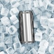 Metal Can of Beer in Ice Cubes — Stock Photo #12270572