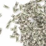 Falling Dollar Bills isolated on white background — Stock Photo