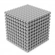 Abstract Cube made from Silver Spheres isolated on white background — Stock Photo #17691459