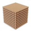 Abstract Cube made from Golden Spheres isolated on white background — Stock Photo #17691471