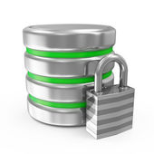 Computer Database with Metal Padlock isolated on white background — Stock Photo