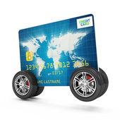 Kreditkarte auf rädern, die isoliert auf weißem hintergrund — Stockfoto