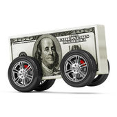 Dollar Bills on Wheels isolated on white background — Stock Photo