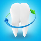 Tooth with Arrows on blue background (Protection Concept) — Stock Photo