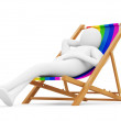 Royalty-Free Stock Photo: Man relaxing on chair. 3D illustration