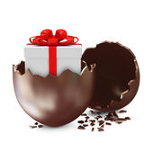 Broken Chocolate Easter Egg with Gift Box Inside over white background — Stock Photo