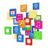 Wolk van programmasymbolen geïsoleerd op witte achtergrond — Stockfoto