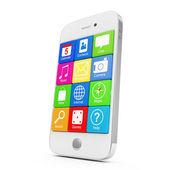 Beyaz arka plan üzerinde izole uygulama simgeleri ile beyaz dokunmatik ekran smartphone — Stok fotoğraf