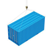 Cargo Container with a Hook isolated on white background — 图库照片