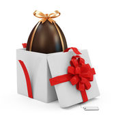 Opened Gift Box with Chocolate Easter Egg — Stock Photo