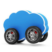 Cloud Computing Symbol on Wheels — Stock Photo