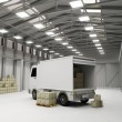 Modern Storehouse with Delivery Van and Boxes — Stock Photo