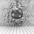 Abstract Illustration of Concrete Wall Broken by Wrecking Ball - Stock Photo