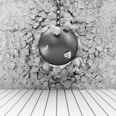 Abstract Illustration of Concrete Wall Broken by Wrecking Ball — Stock Photo