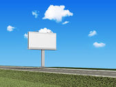 Blank Billboard near the asphalted road on beautiful clouds background — Stock Photo
