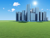 Modern Business City on beautiful landscape with sun and clouds — Stock Photo