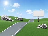 Leeg reclamebord in de buurt van de geasfalteerd weg op prachtige landschap achtergrond — Stockfoto