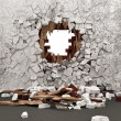 Stock Photo: Grunge Room Interior with Broken Wall